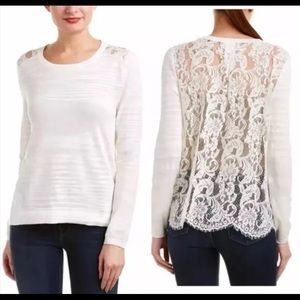 CAbi Sophia Lace Sweater White Size M Style#5005
